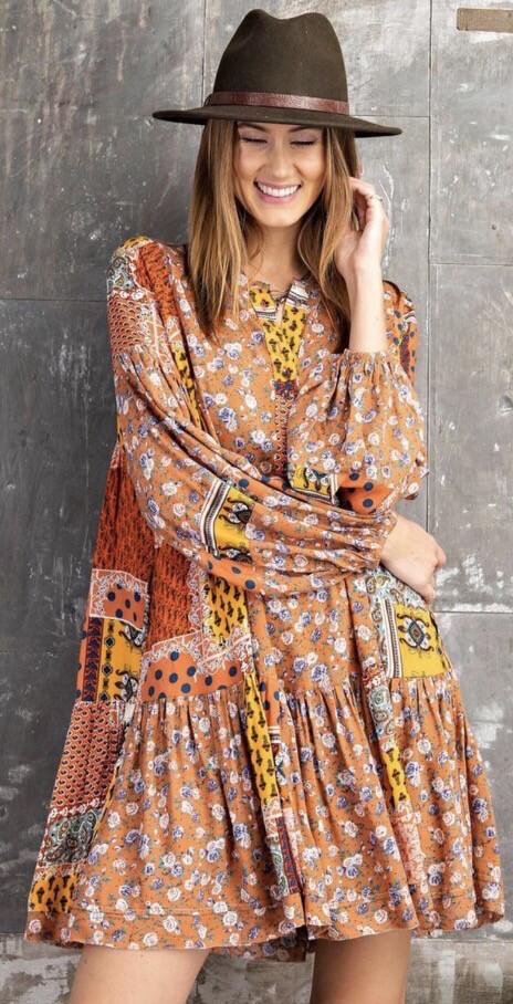 Patchwork Smock Dress - Orange