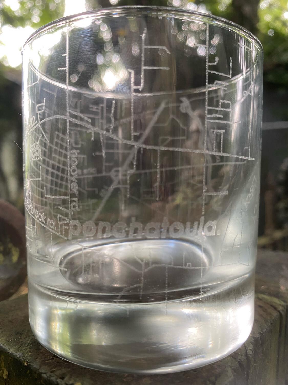 Map Of Hometown Ponchatoula Rocks Glass