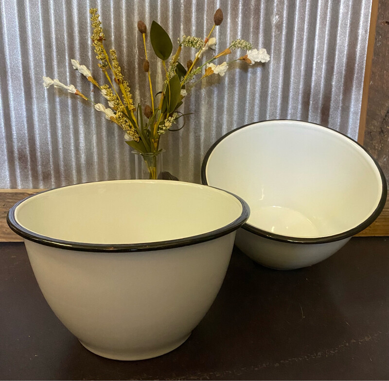 White Enamel Popcorn Bowl