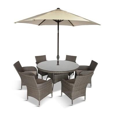 Monaco 6 Seat Dining Set & 2.7m Parasol