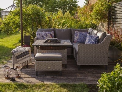 Oslo Compact Modular Dining Set with Charcoal Firepit Table