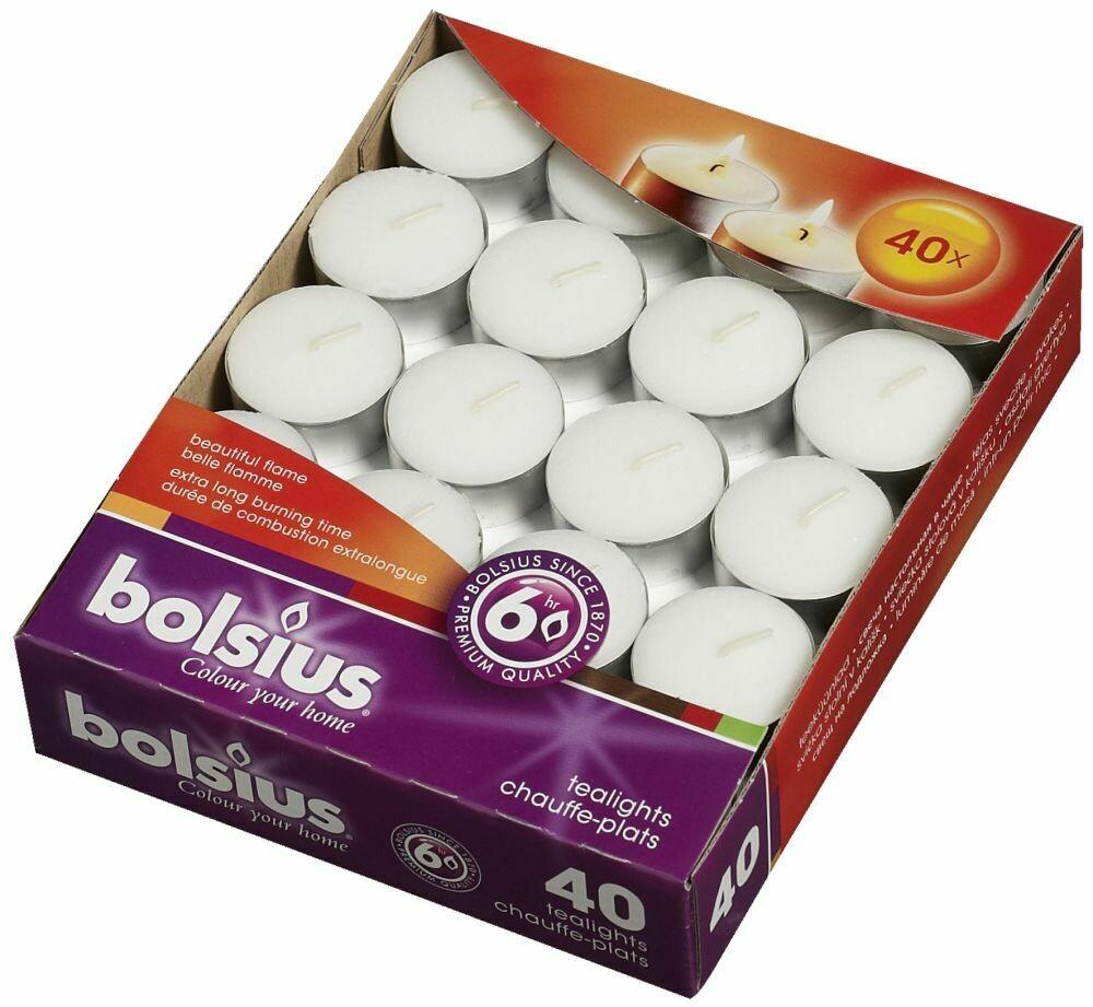 Bolsius theelichten brandduur 6u 40st wit