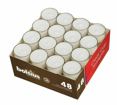 Bolsius clear cups brandduur 8u 48st wit