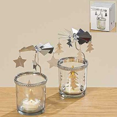 windlicht caroussel h15cm glas  (2 variaties - prijs per 1 stuk)