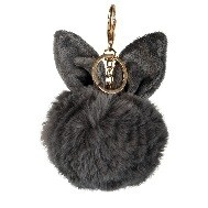 sleutelhanger bont-konijntje 16x8x12.5cm grijs