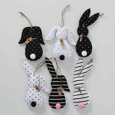 hanger katoen konijn zwart/wit h16 cm -6 modellen , prijs PER1