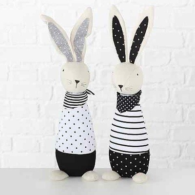 Stoffen konijn / deurstop Kilian zwart/wit h40cm 2 modellen , prijs PER1