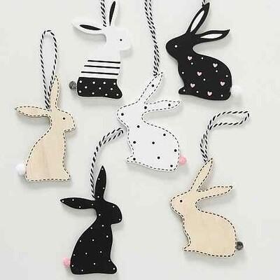 hanger hout konijn zwart/wit h11 cm -6 stuks