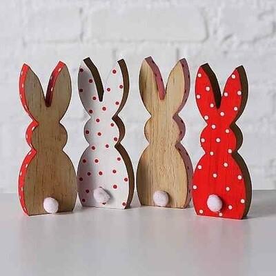 houten konijntje LENA h18cm - 4 modellen , prijs PER1