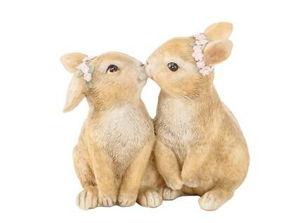 konijn koppeltje met bloemenkrans 10.5x6.5x9.9 polyresine