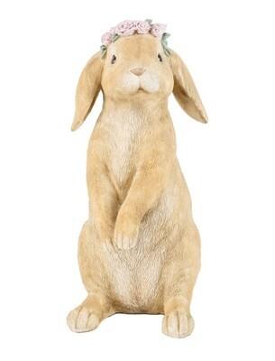 konijn met bloemenkrans 16x14.5x30.2 polyresine