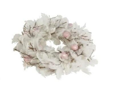 krans m pluimen en eieren 28x9cm roze/wit