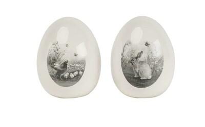 deco-ei keramiek zwart/wit prent 8.2x10cm - 2 modellen , prijs PER1