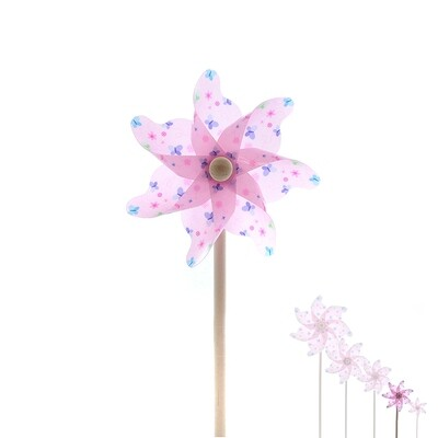 plastic windmill w butterfly pink DIAM14 H31 -  PRIJS PER 1