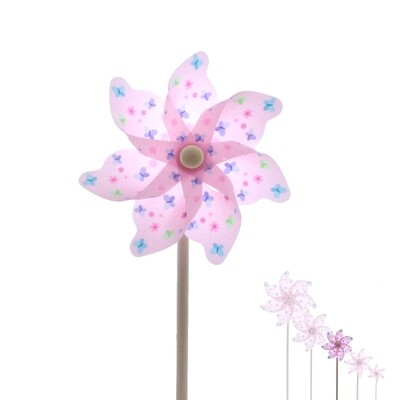 plastic windmill w butterfly pink DIAM17 H48 -  PRIJS PER 1