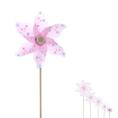 plastic windmill w butterfly pink DIAM9 H28 -  PRIJS PER 1