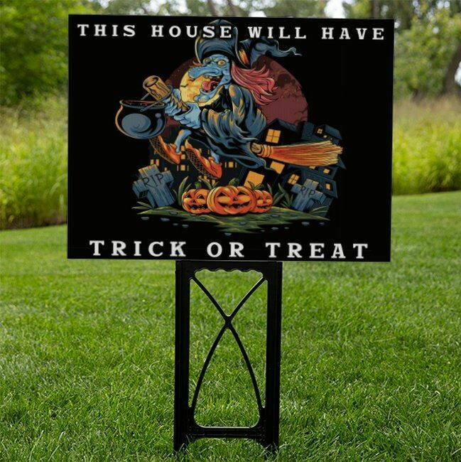 Double-Sided Reusable Trick Or Treat Sign