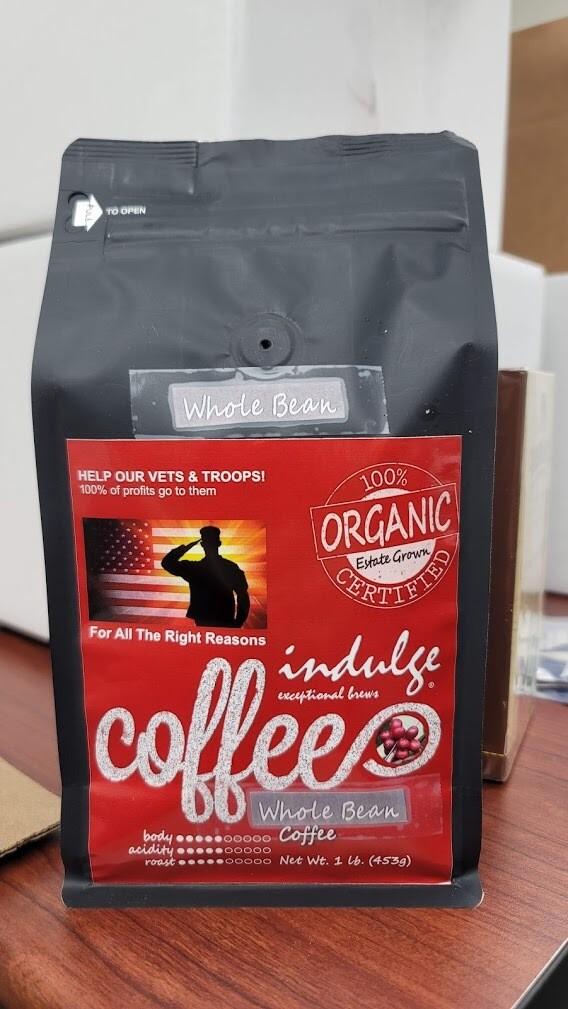 Organic Coffee Vets Fundraiser 1lb Bag | Whole Bean Medium Blend