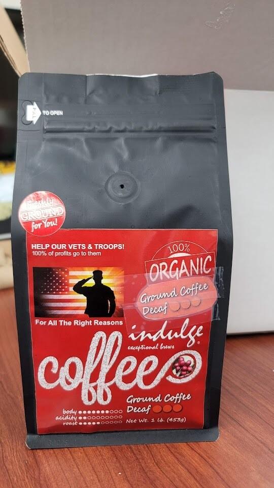 Organic Decaf Coffee Vets Fundraiser 1lb Bag | Fresh Ground Medium Blend