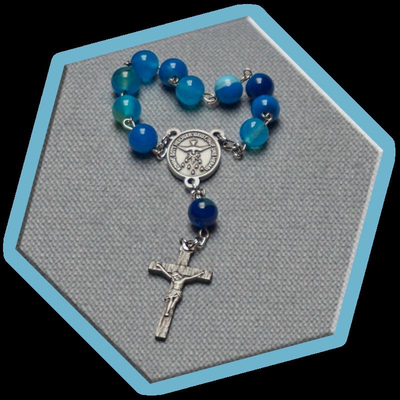 Zehner-Rosenkranz – Achat Naturstein blau gebändert