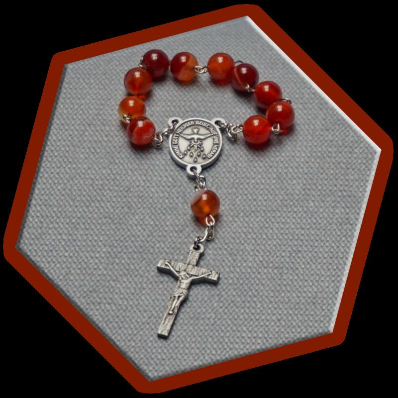 Zehner-Rosenkranz – Achat Naturstein rot gebändert
