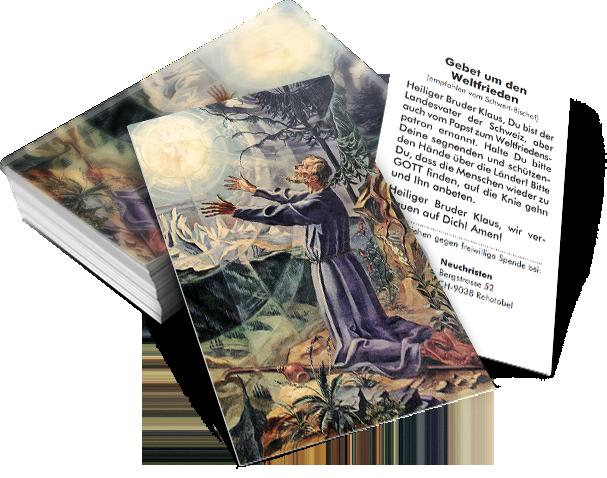 Bildchen mit Gebet zum hl. Bruder Klaus, dem Weltfriedenspatron