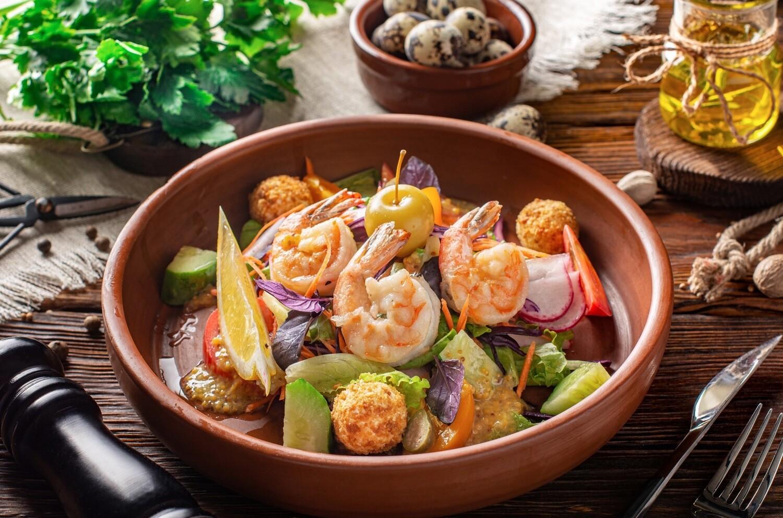 Морський салат з креветками