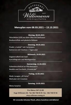 Tages-Menu NÄCHSTE WOCHE - Exklusiv für Bekon Dagmersellen Mitarbeitende