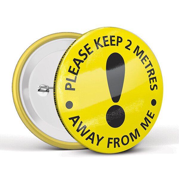 75mm Social Distancing Button Badges Caution
