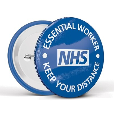 75mm Social Distancing Button Badges NHS