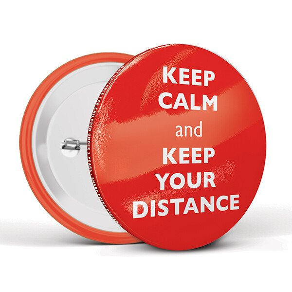 75mm Social Distancing Button Badges Calm