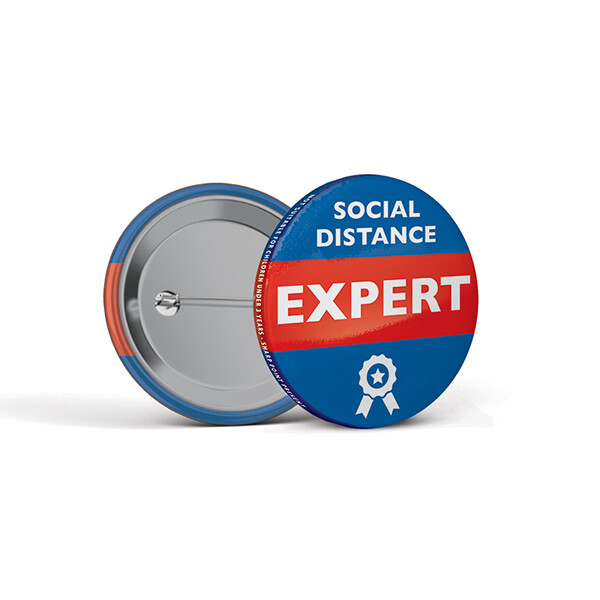 45mm Social Distancing Button Badges Expert