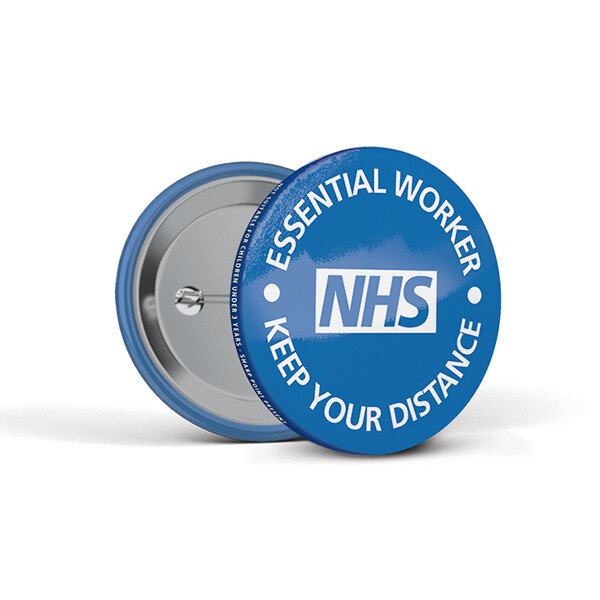 55mm Social Distancing Button Badges NHS