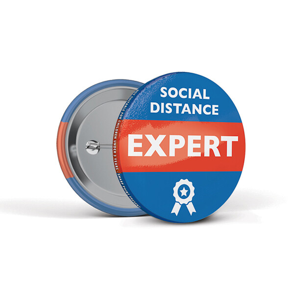 55mm Social Distancing Button Badges Expert