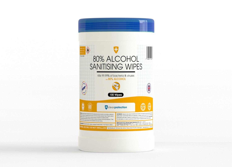 80% Alcohol Sanitiser Wipes (100)
