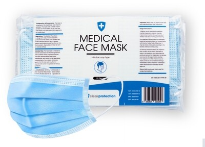 Disposable 3 Layer TYPE IIR Protective Mask - 10 Masks per  pack (EN14683)