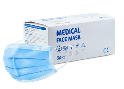 Disposable 3 Layer TYPE IIR Medical/Surgical Protective Mask - Box of 50 (EN14683)