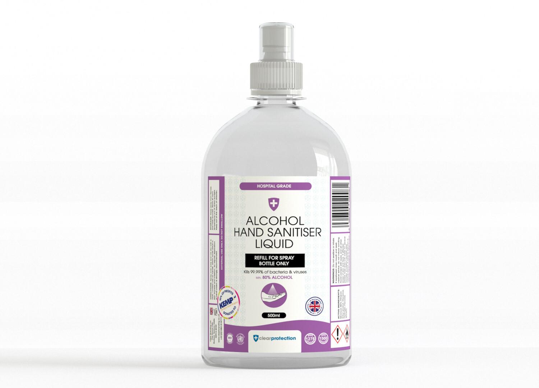 Alcohol Hand Sanitiser Liquid - 500ml REFILL
