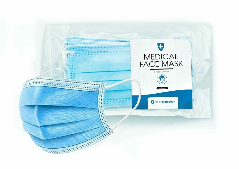 Sterile Disposable 3 Layer TYPE IIR Medical/Surgical Protective Mask - Pack of 10 (EN14683)