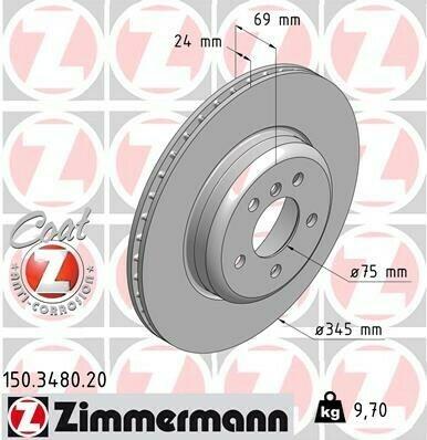 Тормозной диск ZIMMERMANN Место установки: Задний мост