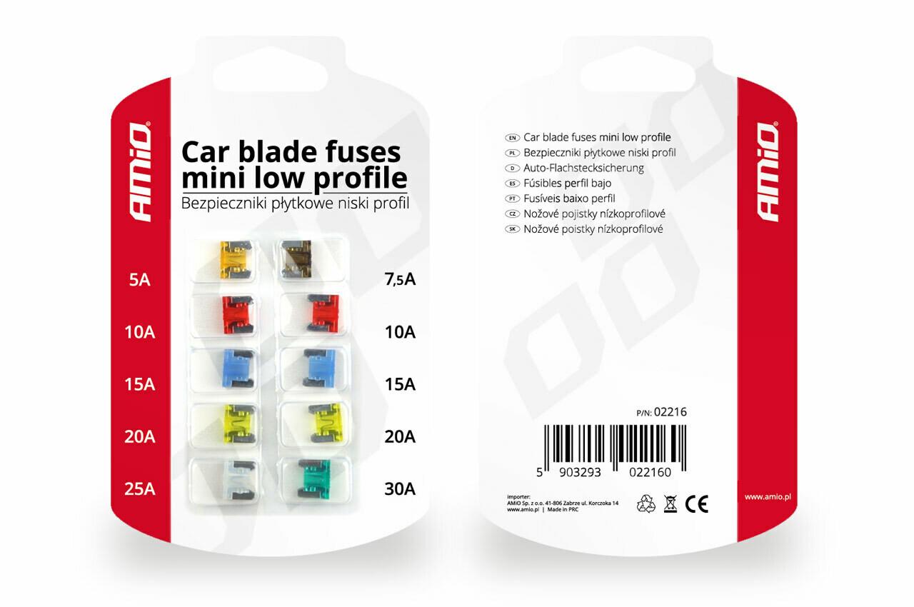 Car blade fuses mini low profile 10 pcs