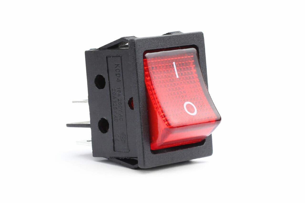 Rectangular switch with red light 12/230V BU02