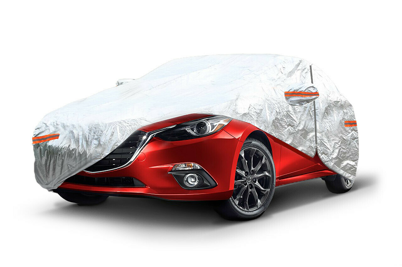 ALUMINIUM CAR COVER with ZIP, REFLECTIVE, 120g + cotton,Silver, size: L