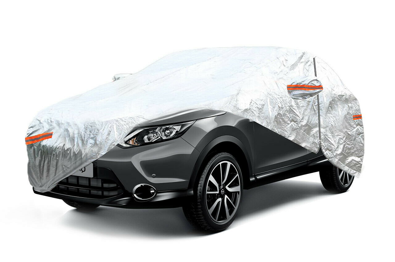 ALUMINIUM CAR COVER with ZIP, REFLECTIVE, 120g + cotton,Silver, size: SUV/VAN L
