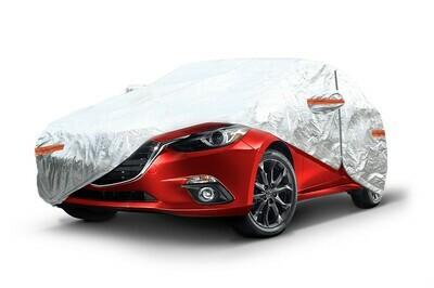 ALUMINIUM CAR COVER with ZIP, REFLECTIVE, 120g + cotton,Silver, size: XL