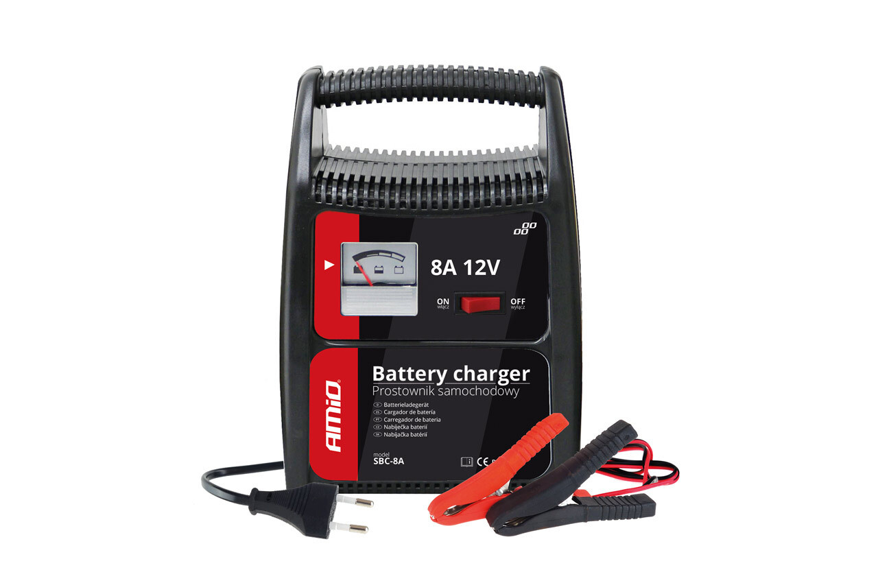 AMiO Battery charger with indicator (fuse) 8A, 12V SBC-8A