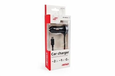 Car charger PCH PRO-01 microUSB+2xUSB 2.4A 12/24V