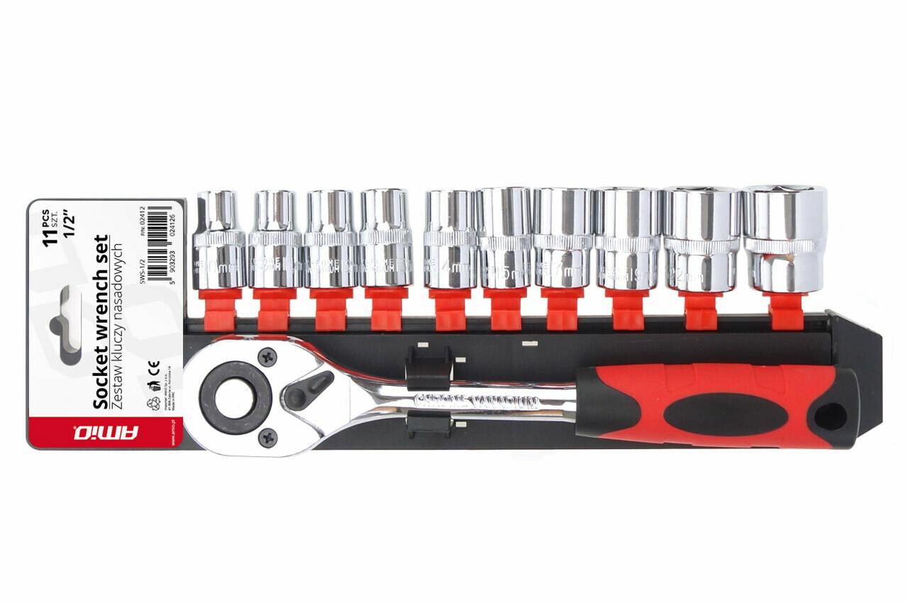 """Metric Ratchet Wrench Socket Repair Tool Set 11pcs (1/2"""" 10-24mm"""