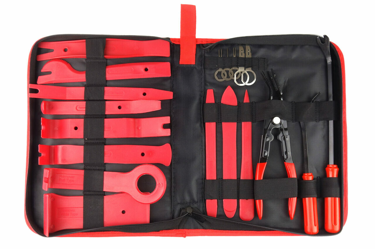 Clip Radio Upholstery Removal Tool Kit 19 pcs with bag