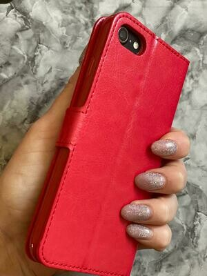 Red Flip Phone Case With Card Holder
